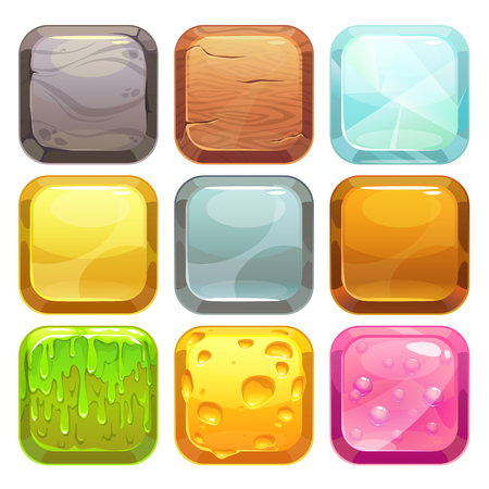 Illustration pour Cartoon square buttons set, app icons with different textures, isolated on white - image libre de droit