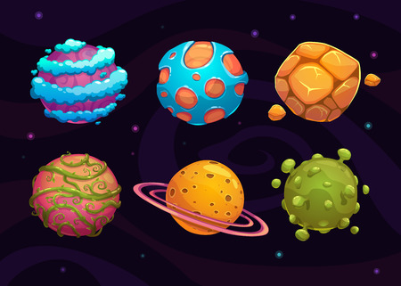 Ilustración de Set of cartoon fantasy planet on space background - Imagen libre de derechos