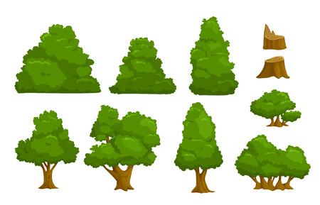 Illustration pour Vector nature elements set, isolated cartoon trees and bushes - image libre de droit