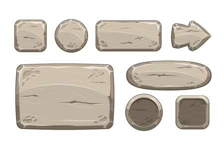 Illustration pour Cartoon stone game assets set, isolated on white, vector - image libre de droit