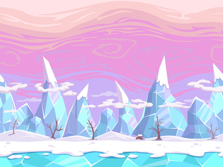Illustration pour Seamless vector cartoon fantasy landscape with ice mountains, separated layers for game design - image libre de droit