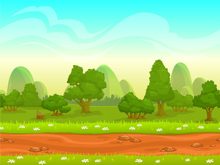 Illustration pour Cute cartoon seamless landscape with separated layers, summer day illustration - image libre de droit