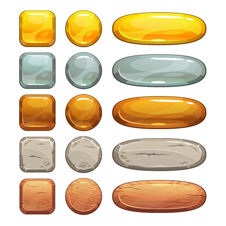 Ilustración de Metallic, stone and wooden buttons set, isolated elements for game or web design - Imagen libre de derechos