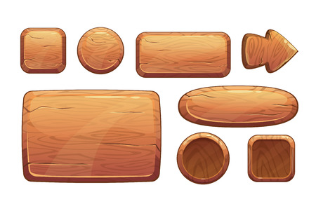 Illustration pour Cartoon wooden game assets, wood kit for game ui development, vector gui elements - image libre de droit