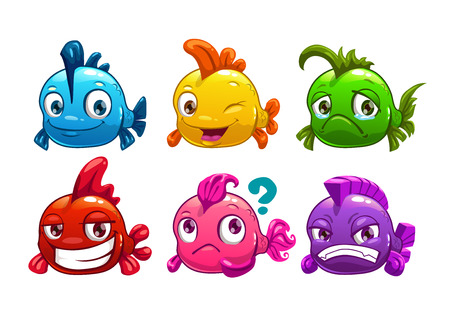 Cute cartoon colorful fishes set, vector illustration