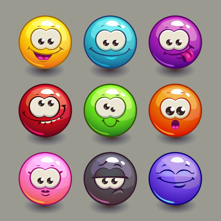 Illustration pour Cartoon comic round faces set, colorful vector bubble characters - image libre de droit