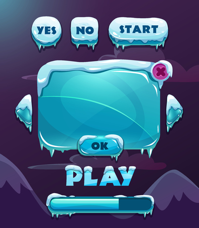 Illustration pour Cartoon vector ice winter game user interface - image libre de droit