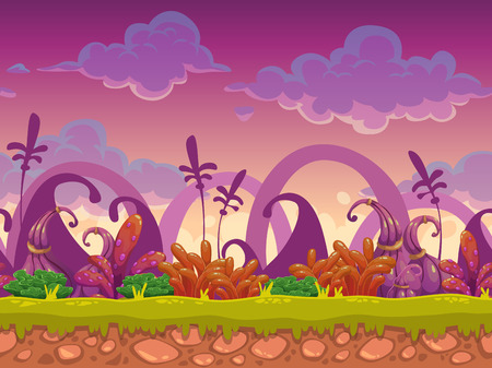 Illustration pour Cartoon fantasy vector seamless landscape, endless alien nature background for game design, separated layers for parallax effect in animation - image libre de droit