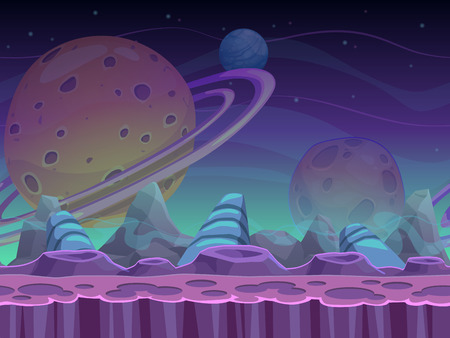 Photo pour Fantasy seamless alien landscape, separated layers for game design, vector space background - image libre de droit