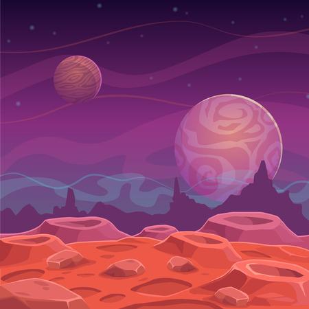 Ilustración de Fantasy alien landscape, vector cartoon space background - Imagen libre de derechos