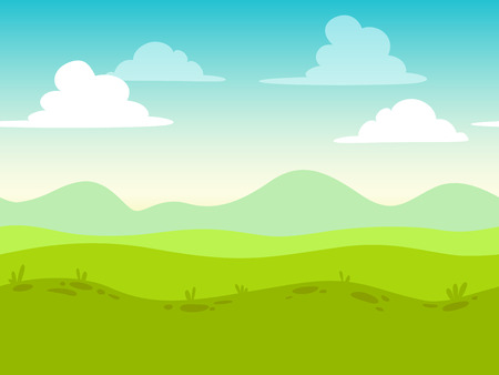 Illustration pour Cartoon flat seamless landscape, separated layers for parallax effect in game design - image libre de droit