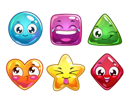 Illustration for Funny cartoon vector characters icons, colorful glossy figures for gui design, isolated on white - Royalty Free Image