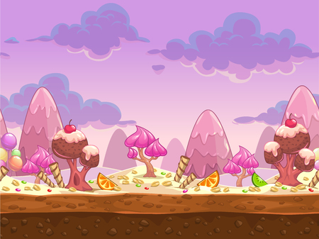 Ilustración de Cartoon sweet candy land seamless illustration, vector fantasy landscape with separated layers for parallax effect - Imagen libre de derechos