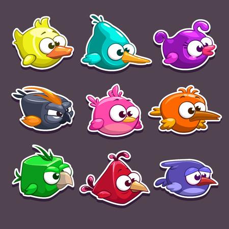Illustrazione per Funny cartoon birds stickers, vector game elements - Immagini Royalty Free