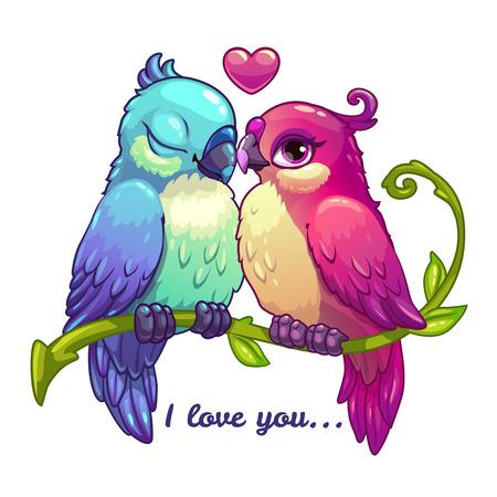 Illustration pour Cute birds couple in love, cartoon vector illustration on white background - image libre de droit