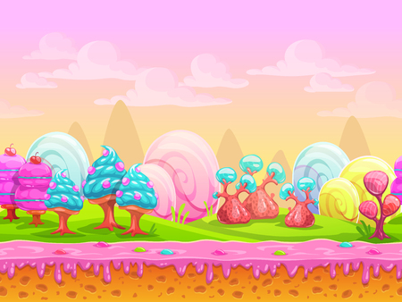 Illustration pour Cartoon fantasy candy land location, sweet world, seamless background with separated layers for parallax effect in game design, vector illustration - image libre de droit