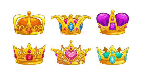 Illustration for Cartoon royal crown icons set. Vector king, queen, prince, princess attributes. Isolated on white background. Decorative assets for game design. - Royalty Free Image