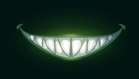 Ilustración de Cartoon scary evil smile with big sharp teeth - Imagen libre de derechos