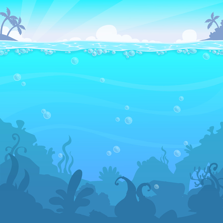 Ilustración de Underwater landscape, vector illasteration. Beautiful under sea location. Blue water background. - Imagen libre de derechos