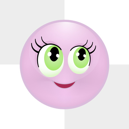 Cute purple smiley. Vector illustration