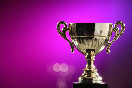 Photo for golden trophy on the purple background - Royalty Free Image