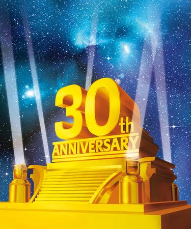 Foto de Golden 30 years anniversary against galaxy - Imagen libre de derechos