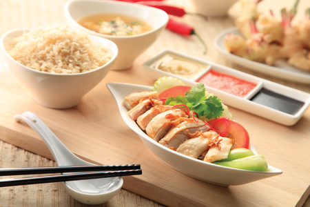 Photo for Hainanese chicken rice with sauce - Royalty Free Image