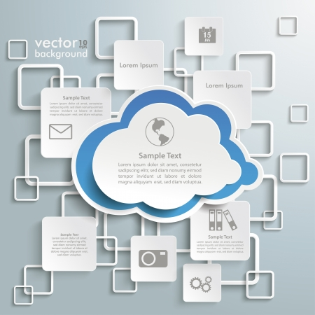 Illustration pour Cloud with rectangles on the grey background. - image libre de droit