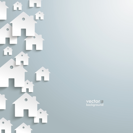 Illustration for Infographic with white houses on the grey background.  - Royalty Free Image