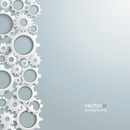 Photo pour White gears on the grey background. Eps 10 vector file. - image libre de droit
