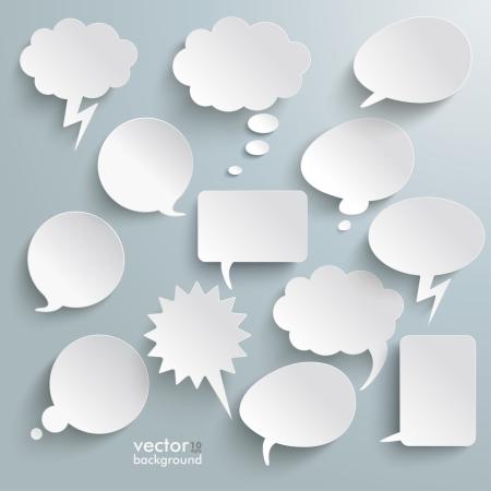 Illustration pour Infographic design with white communication bubbles on the grey background. Eps 10 vector file. - image libre de droit