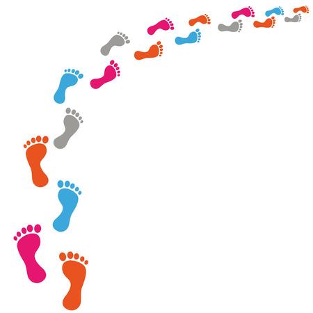 Ilustración de Colored footprints on the white background. Eps 10 vector file. - Imagen libre de derechos