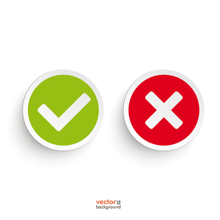Illustration pour Yes and no round icons on the white background. - image libre de droit