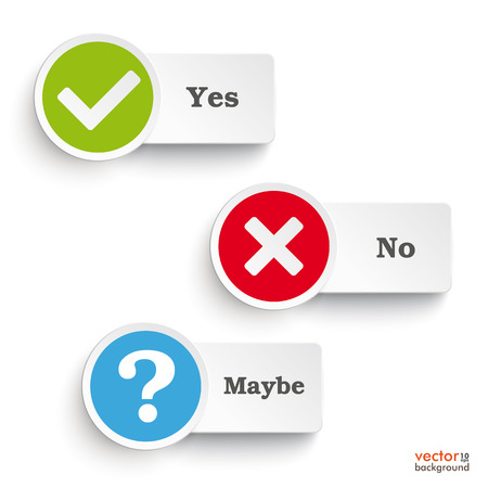 Illustration pour Yes, no and maybe round icons on the white background. Eps 10 vector file. - image libre de droit