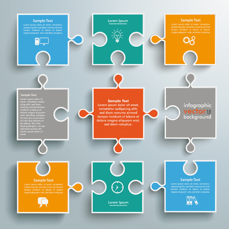 Ilustración de Colored paper puzzles on the grey background. Eps 10 vector file. - Imagen libre de derechos