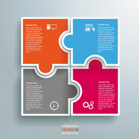 Illustration pour Infographic with colored rectangle puzzle pieces on the grey background. Eps 10 vector file. - image libre de droit