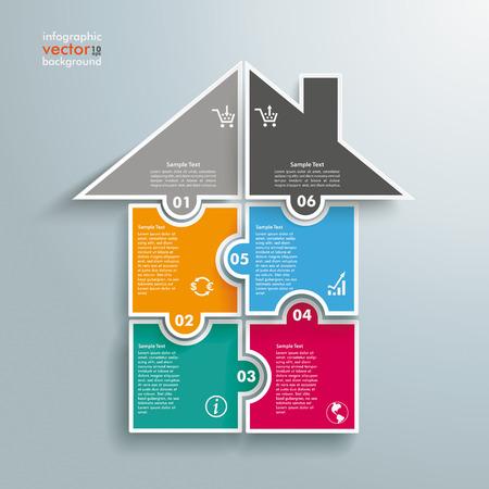 Ilustración de Infographic with rectangle puzzle pieces on the grey background.  - Imagen libre de derechos