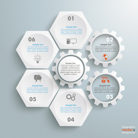 Illustration pour Infographic with honeycomb structure and gears on the grey background. - image libre de droit