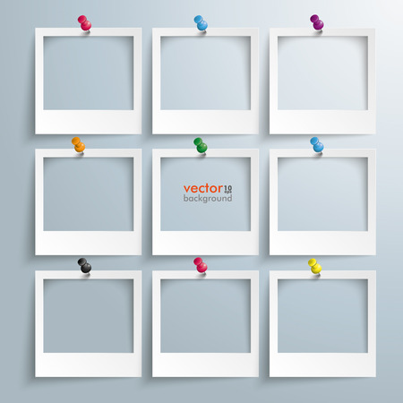 Illustration pour Photo frames with thumbtacks on the gray background. - image libre de droit
