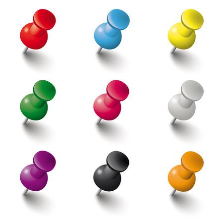 Illustration pour Colored pins on the white background. Eps 10 vector file. - image libre de droit