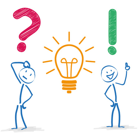 Illustration pour Stickman with question, bulb and answer on the white background. Eps 10 vector file. - image libre de droit