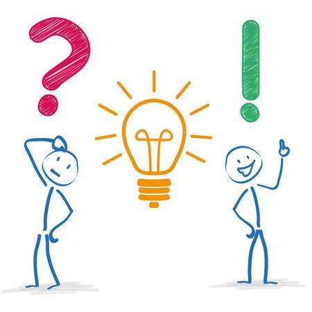 Ilustración de Stickman with question, bulb and answer on the white background. Eps 10 vector file. - Imagen libre de derechos