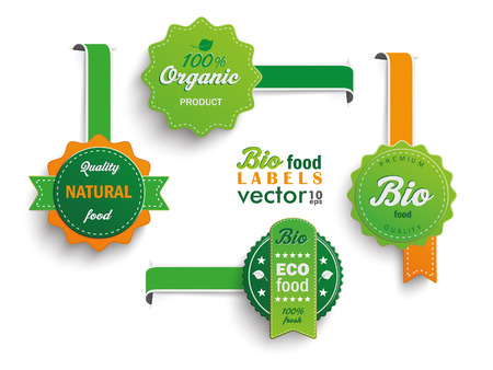 Illustration for Collection of 4 bio labels. - Royalty Free Image
