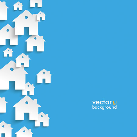 Illustration for Infographic with white houses on the blue background. - Royalty Free Image