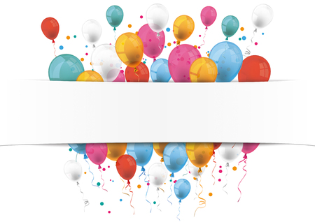 Illustration pour Checked paper banner and colored balloons.  Eps 10 vector file. - image libre de droit