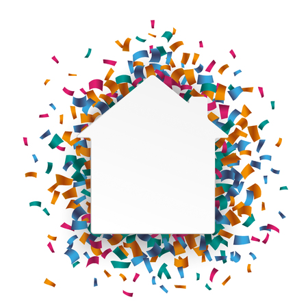 Illustration for White paperhouse with colored confetti on the white. Eps 10 vector file. - Royalty Free Image