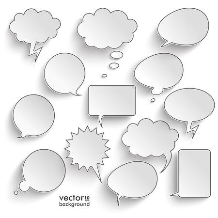 Illustration pour Speech bubbles with shadwos set on the gray background. Eps 10 vector file. - image libre de droit