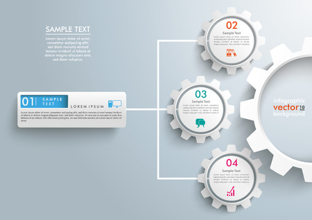 Illustration pour Infographic templae with 3 gears on the gray background. - image libre de droit