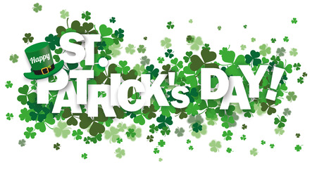 Illustration pour Green shamrocks on the white with text Happy St. Patrick's Day. Eps 10 vector file. - image libre de droit