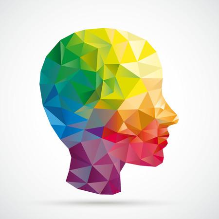 Illustration pour Colored low poly human head on the white background. Eps 10 vector file. - image libre de droit